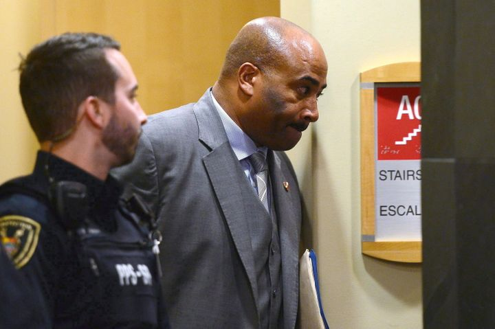 File photo of Don Meredith leaving a Senate committee in Ottawa on April 4, 2017.
