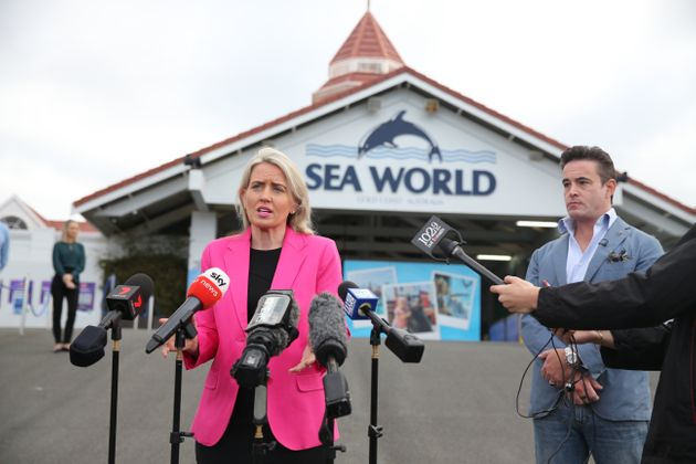 Village Roadshow Theme Parks CEO, Clark Kirby and Queensland Tourism Minister, Kate Jones speak to media...