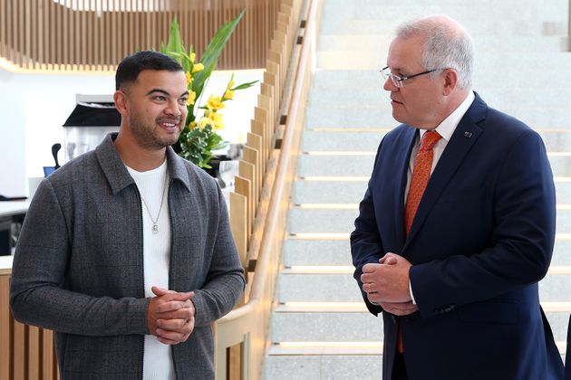 Singer Guy Sebastian and Prime Minister Scott Morrison speak during a tour of the Sydney Coliseum Theatre...