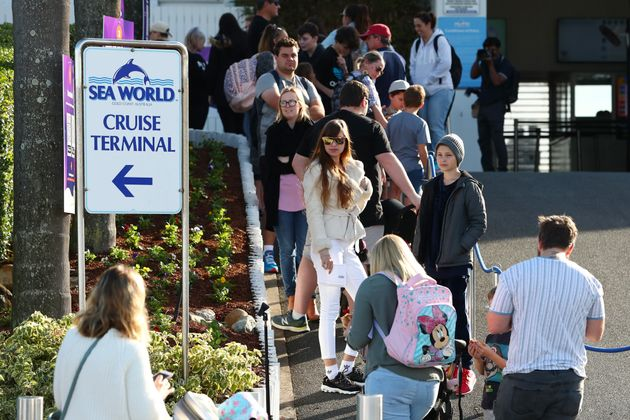 GOLD COAST, AUSTRALIA - JUNE 26: Crowds line up to enter Seaworld on June 26, 2020 in Gold Coast, Australia....