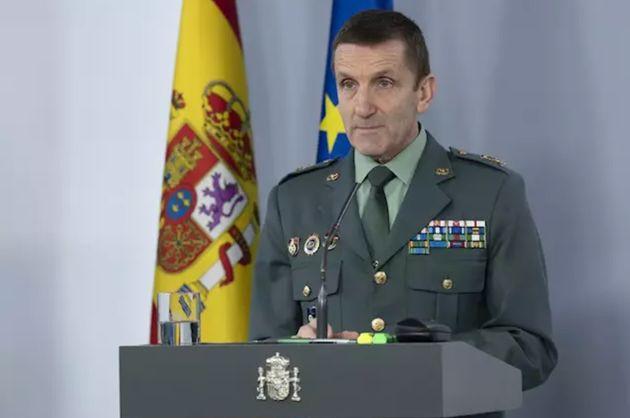 El general José Manuel Santiago en una rueda de prensa en Moncloa por el estado de alarma del