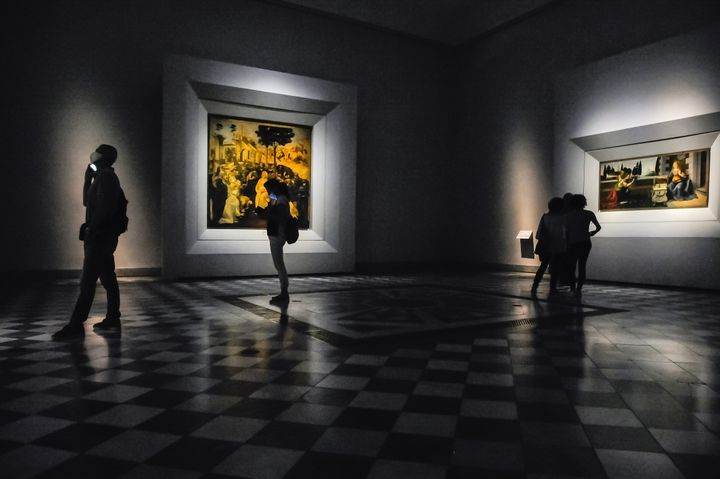 Visitors to the reopened Uffizi Galleries in Florence enjoy a more relaxed museum-going experience on June 3. Limits on the number of people who can visit make it easier for visitors to observe social distance.