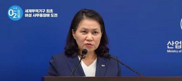 6月24日、出馬表明をしたユ・ミョンヒ通商交渉本部長