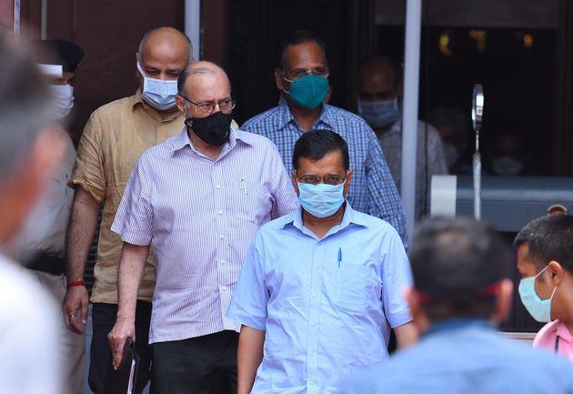 Delhi CM Arvind Kejriwal, Lt Governor Anil Baijal, Deputy CM Manish Sisodia and Health Minister Satyendar...