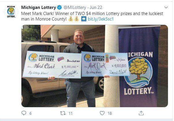 L'Américain Mark Clark a remporté pour la deuxième fois 4 millions de dollars au loto, a annoncé lundi...