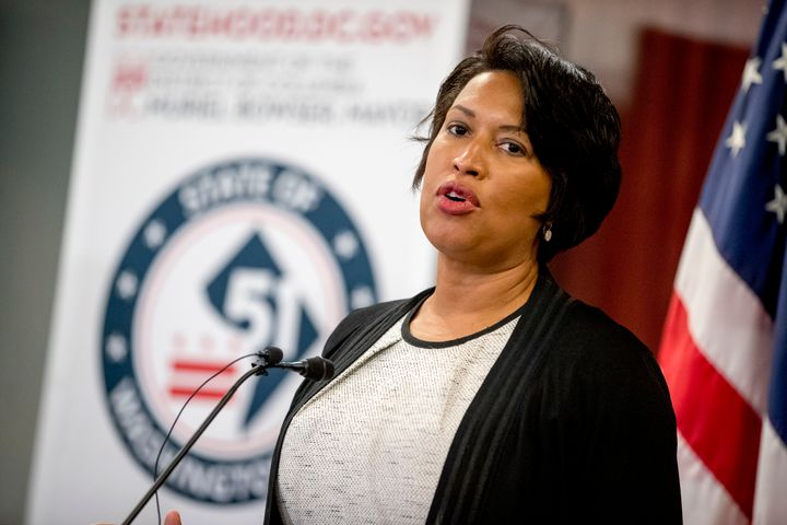 District of Columbia Mayor Muriel Bowser speaks at a news conference on District of Columbia statehood on Capitol Hill on Jun