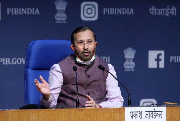 Minister of Environment, Forest and Climate Change, Prakash Javadekar addresses media after a cabinet...