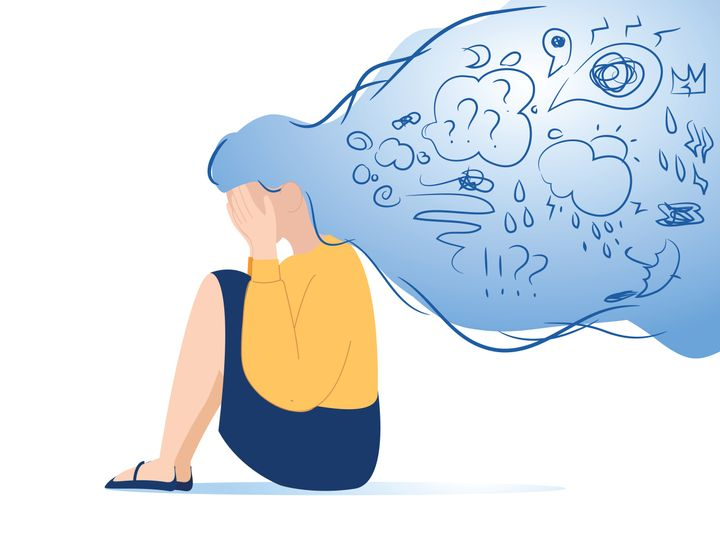 Mental disorder, finding answers, confusion concept. Woman suffering from depression, closing face with palms in despair, girl trying to solve complex problems. Simple flat vector. Stress at work