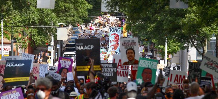 Demonstrators march to the Georgia state Capitol in Atlanta on June 15. Helping to organize protests can translate as a job skill.