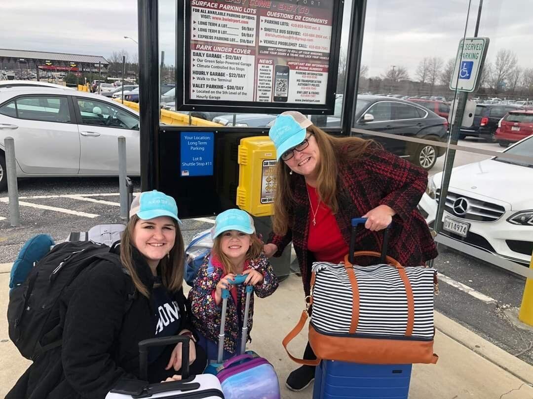 In their last trip before quarantining for coronavirus, Joanne H. Clough takes her daughter, Diane Roznowski, 23, and grandda