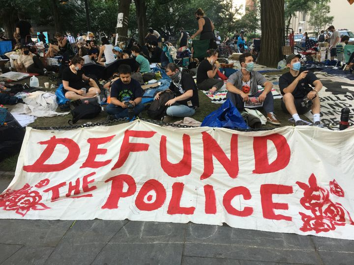 Encampments continue to grow by City Hall where protesters are demanding a $1 billion cut from the NYPD's budget.