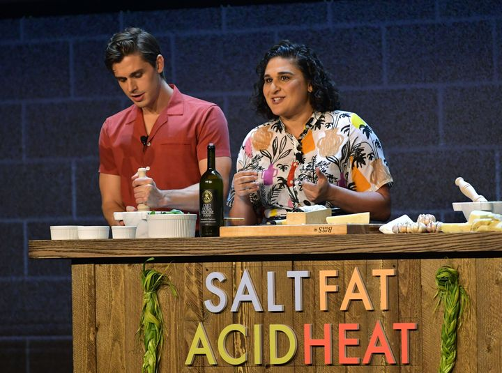 Antoni Porowski and Samin Nosrat share the staged at a Netflix event in May 2019, each representing their respective Netflix shows.