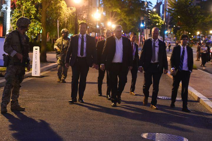 Attorney General William Barr walks around downtown Washington, D.C., during curfew on June 1, 2020.