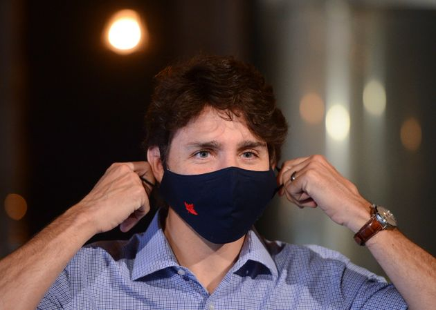 Prime Minister Justin Trudeau holds a news conference at Big Rig Brewery amid the COVID-19 pandemic in...
