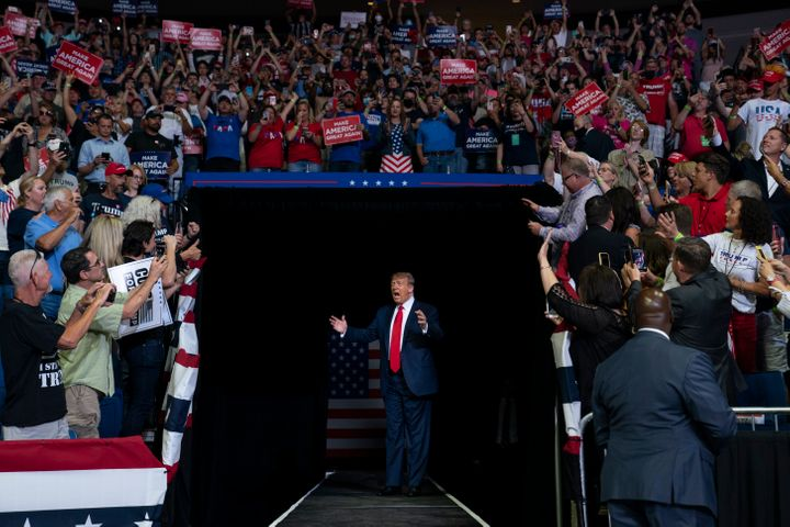 President Donald Trump arrives at a campaign rally at the BOK Center in Tulsa, Oklahoma, on June 20.