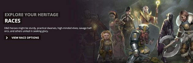 The D&D website invites players to