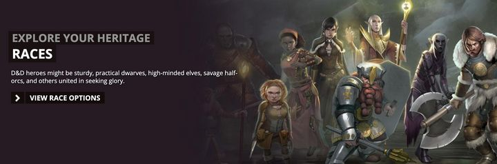 "The D&D website invites players to ""explore your heritage"" and choose a race."
