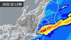 【雨の日曜日】東京など関東南部では、昼頃をピークに雨が強まる