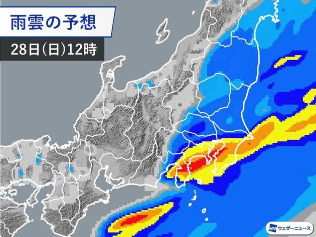 雨雲の予想 28日(日)12時