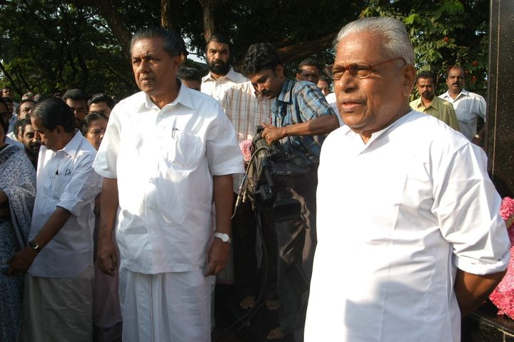 A file photo of Vijayan (left) with former Kerala chief minister V.S. Achuthanandan.The feud between the two leaders had created several instances of organisational crisis for the CPI(M).