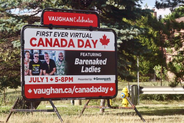 Sign advertising a virtual Canada Day celebration that will be streamed online due to the novel coronavirus...