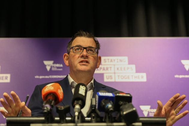 MELBOURNE, AUSTRALIA - JUNE 28: Premier of Victoria Daniel Andrews reacts during a press conference on...