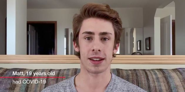 Matt Greenshields, 20, is the face of a frequent PSA warning young people about the risk of contracting the novel coronavirus.