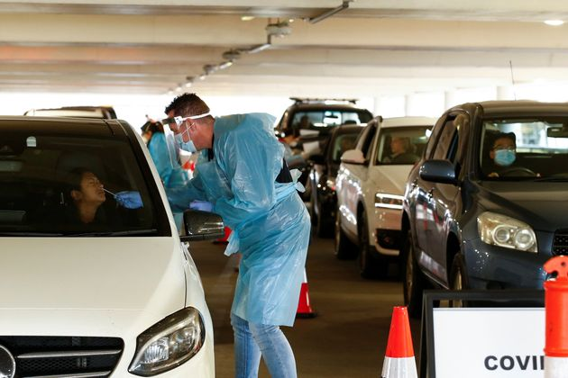 A coronavirus disease (COVID-19) drive-through testing facility is seen as the state of Victoria experiences...