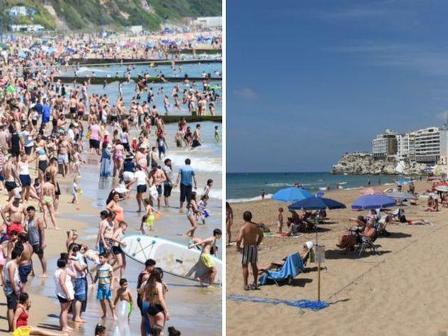 Las playas de Bournemouth (izquierda) y de Benidorm (derecha), fotografiadas en los últimos