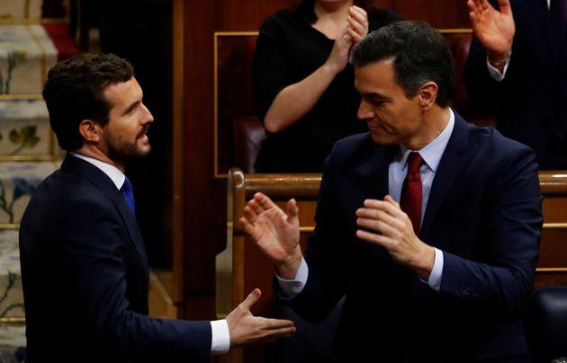 El líder del PP, Pablo Casado, y el presidente del Gobierno, Pedro