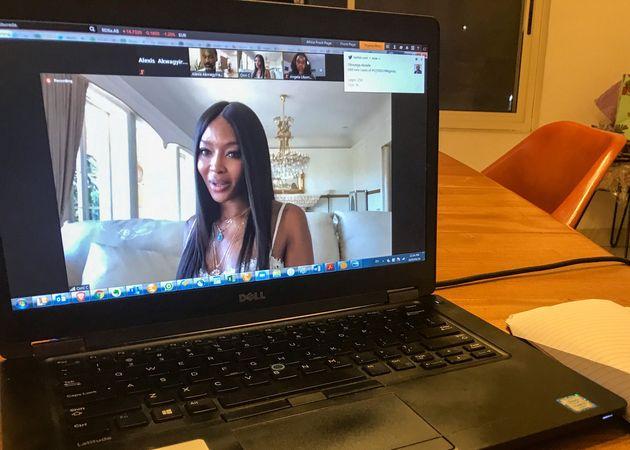 Η Ναόμι Κάμπελ μιλάει από το Λος Αντζελες κατά τη διάρκεια συνέντευξης στο Zoom με το Reuters στο Λάγος στη Νιγηρία.