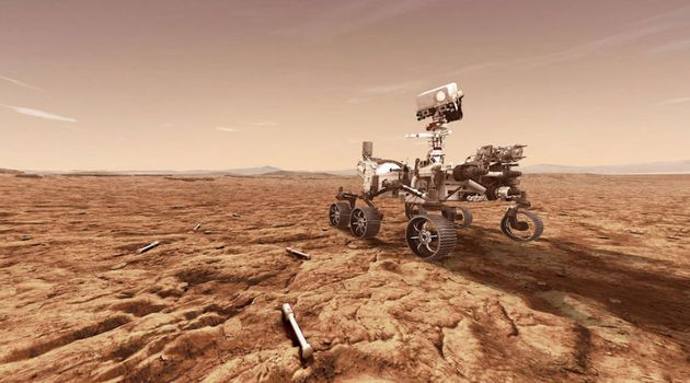 Le rover Perseverance doit déposer des échantillons de roches et de sol dans des tubes...