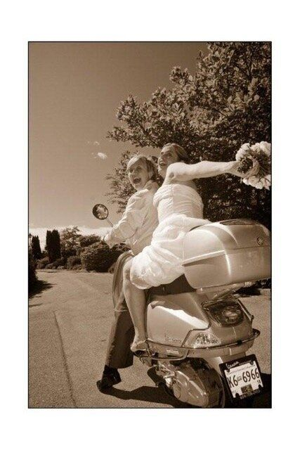 The couple riding a scooter for a wedding photo in 2006.