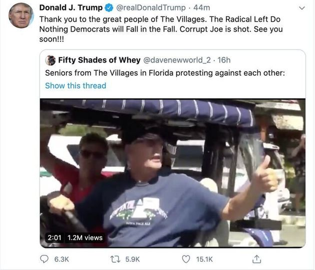 President Donald Trump shared a video from an anonymous Twitter user depicting one of his supporters...