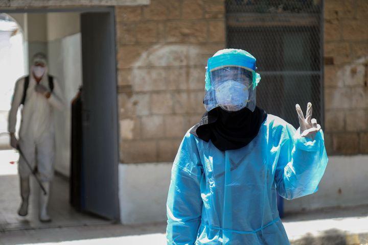 A health worker in Taez, Yemen, on June 21, 2020.
