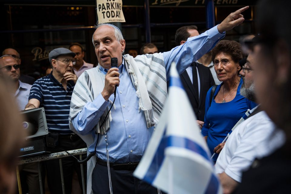 Rabbi Avi Weiss, center, a prominent Jewish leader and pro-Israel activist in the Bronx's Riverdale neighborhood,...