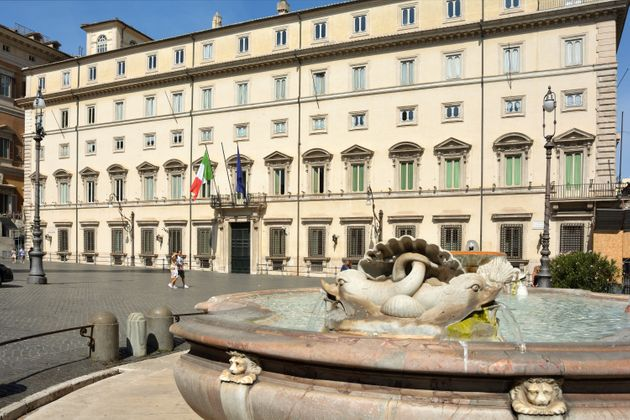 Rome, Lazio; Italy - September 15, 2019: Palazzo Chigi at the Piazza Colonna in Rome. Residence of the...