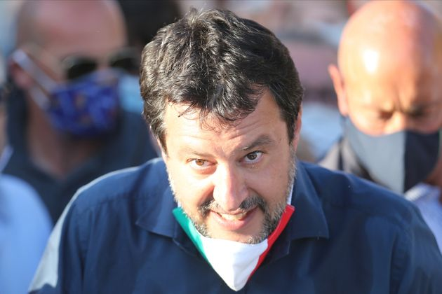 MONDRAGONE, ITALY - 2020/06/29: Matteo Salvini, leader of the League, in front of the red area of the...