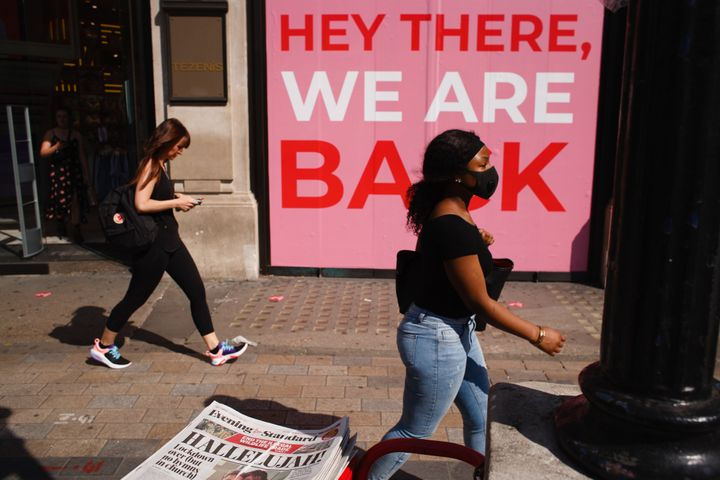 Shops in Oxford Circus in London celebrate the further easing of Britain's lockdown restrictions, aimed at reviving the econo