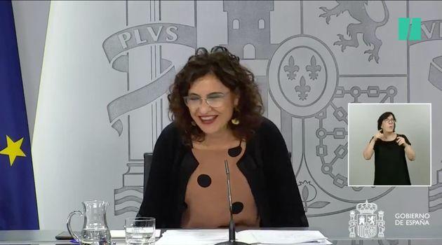 María Jesús Montero, este martes en rueda de prensa tras el Consejo de
