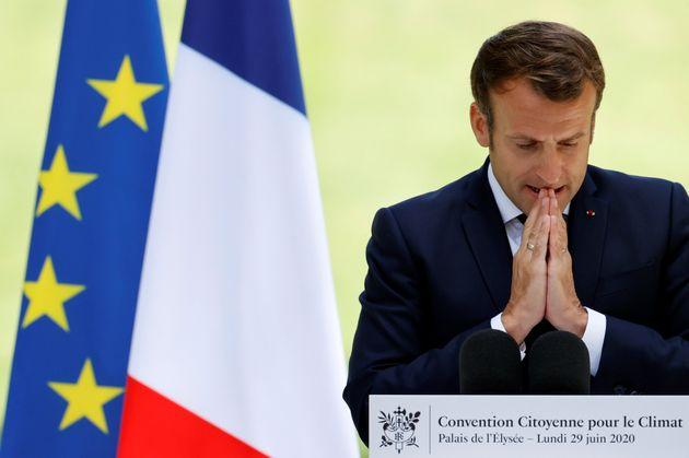 Emmanuel Macron devant les 150 citoyens de la convention pour le climat, le 29 juin 2020 à
