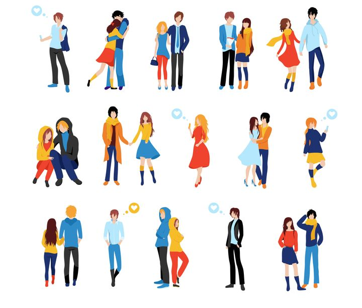 Flat cartoon happy romantic couples walking together on white background. Standing single lonely girl or pairs of men and women on date. Modern colorful vector illustration