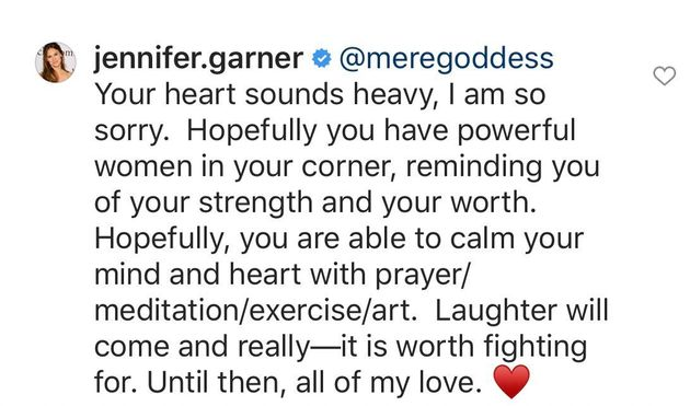 Jennifer Garner responds to a fan on