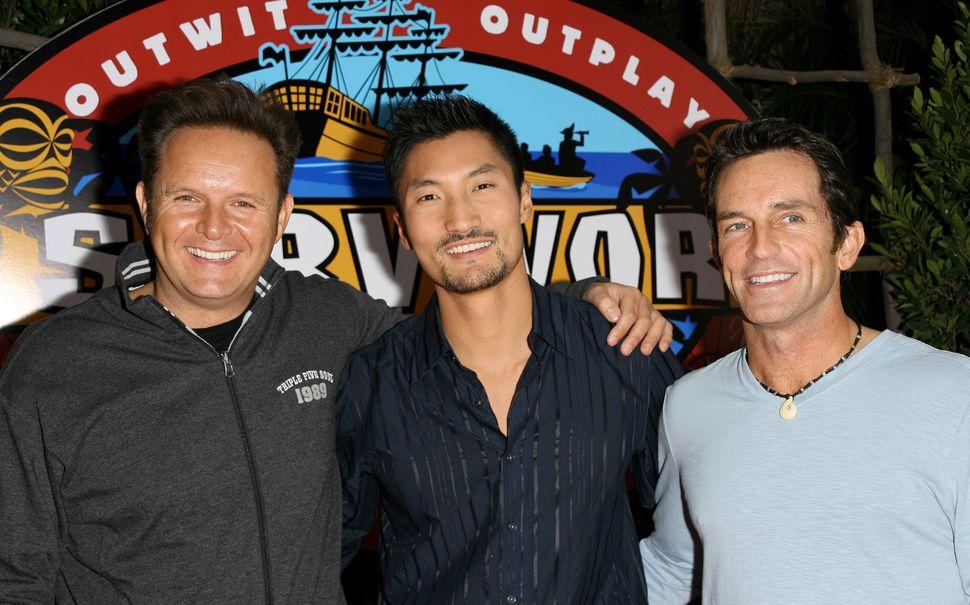 """Mark Burnett (left) and Kwon (center), who won Season 13 of """"Survivor."""""""