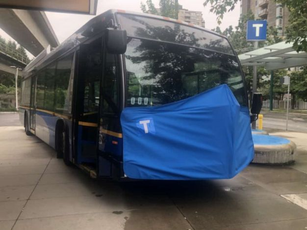 A TransLink bus wearing a giant face mask has been used to promote safe mask wearing on transit in Metro