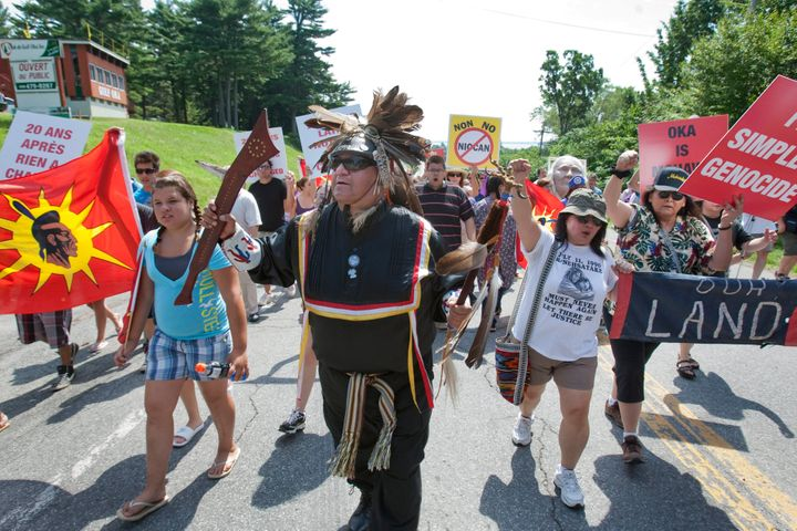 Kevin Daniels from the Plains Cree nation in Saskatchewan, joins Mohawks in a peace march in 2010, on the 20th anniversary of the Oka crisis. The crisis played out in Montreal suburbs, near where I grew up.