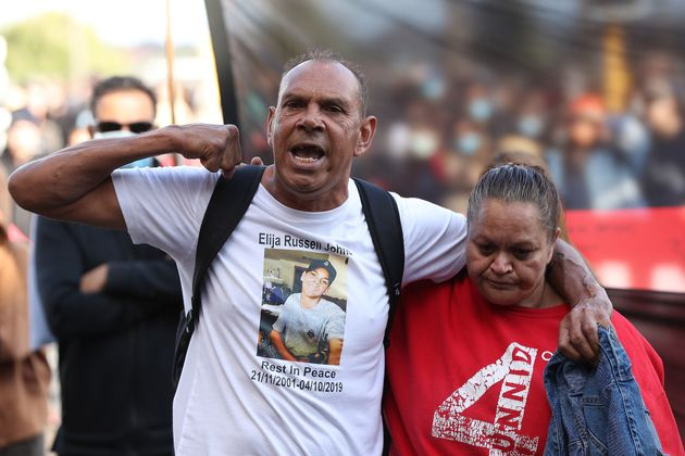 Protesters participate in a Black Lives Matter rally at Langley Park on June 13, 2020, in Perth. The...