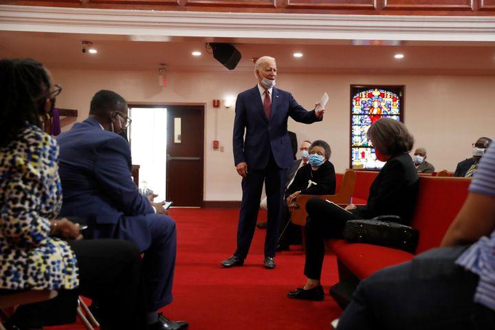 Former Vice President Joe Biden, the presumed Democratic presidential nominee, speaks at Bethel AME Church in Wilmington, Del
