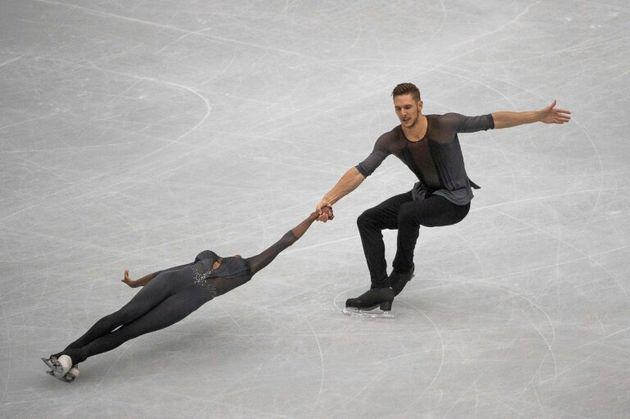 Le couple français Vanessa James et Morgan Ciprès lors du programme libre aux Mondiaux...