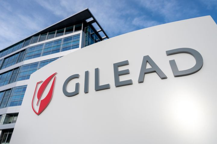 Gilead logo is seen at its office in Foster City, California, United States